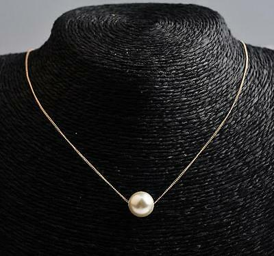 18K GP White & Gold Plated Simple Unique 12mm Shell Pearl Pendants Necklaces