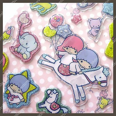 Sanrio Japan Little Twin Stars horse and balloons glitter thick plastic sticker
