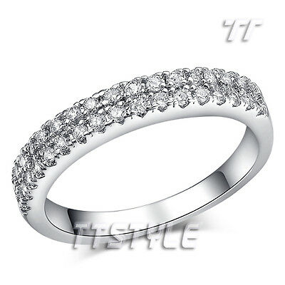 TTstyle White Gold Plated Micro Pave Eternity Engagement Wedding Ring Size 5-9