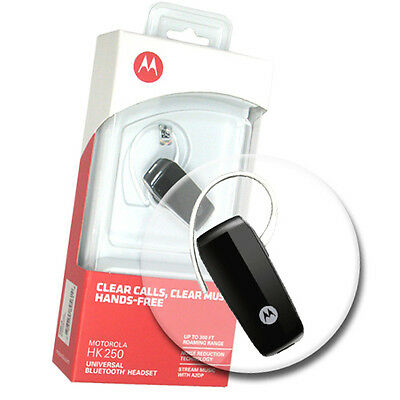 New Motorola Black HK250 A2DP Bluetooth Headset w EarHook & Charger OEM Retail