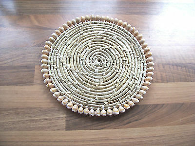 Florentine Crochet Straw Pot Hot Plate with sea shell decorated Islamic/ Middle