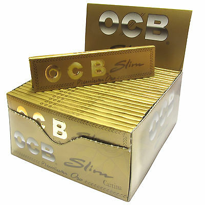 OCB Slim Premium Oro Long Papers gold Paper BOX  50 x 32 Blättchen lang