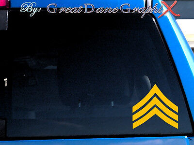 Army Sergeant Rank Chevron Vinyl Car Decal Sticker / Choose Color-HIGH QUALITY