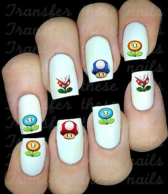 SUPER MARIO 1 UP 30 Stickers autocollant ongles manucure nail art water déco