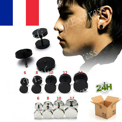 paire faux plug ecarteur piercing boucle d 39 oreille acier fashion femme vis homme eur 4 90. Black Bedroom Furniture Sets. Home Design Ideas