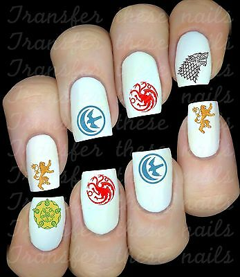 Game of Thrones le trône de fer 30 Stickers ongles manucure nail art water déco