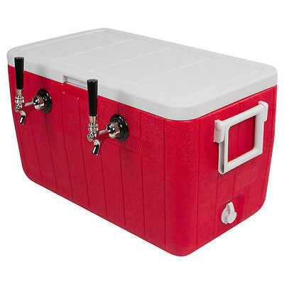 Double Faucet Cooler - 50' Stainless Steel Coil - Draft Beer Picnic Jockey Box