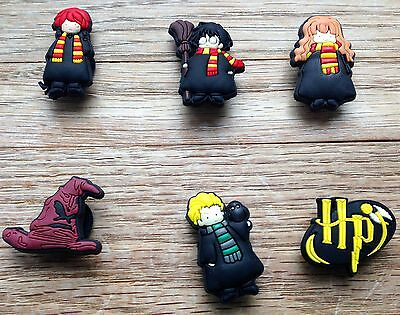 6 x Harry Potter Shoe Charms JIBBITZ CHARMS  CROC TOPPERS WRISTBAND BRACELET UK