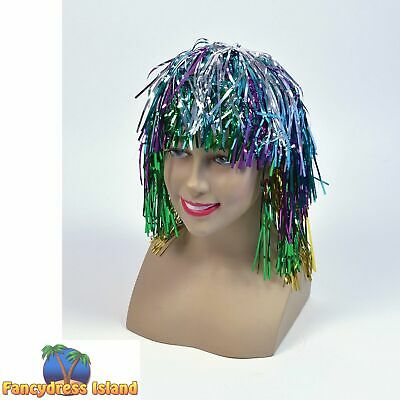 1970's DISCO MULTI COLOURED TINSEL WIG Adults Ladies Womens Fancy Dress Costume