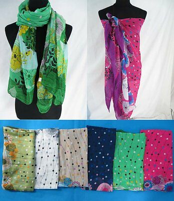 US SELLER-lot of 6 wholesale scarf pareo tropical floral fashion scarves
