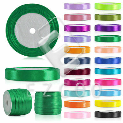 "25 50 Yards a Roll Satin Ribbon 1/8""1/4"" 3/8"" 5/8"" 3/4"" 1"" 3/2"" 2"" Wholesale DIY"