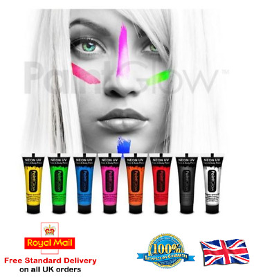Paintglow UV Glow Neon Face & Body Paint 10ml SET of 6 Fluorescent (WAX BASED)