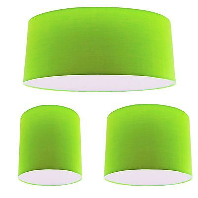 Green Cotton Drum Lampshade Ceiling Light Lightshade Pendant Lamp Shade Fitting