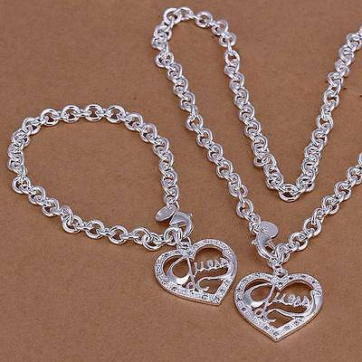 HOT 925 sterling silver peach heart necklace and bracelet set + box CS078