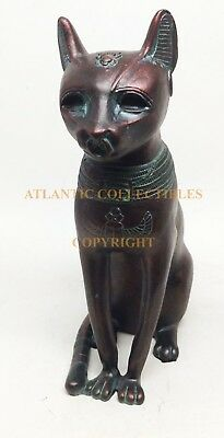 "Egyptian Faded Copper Feline Goddess Bastet Cat Form Ancient Figurine 8.25""H"