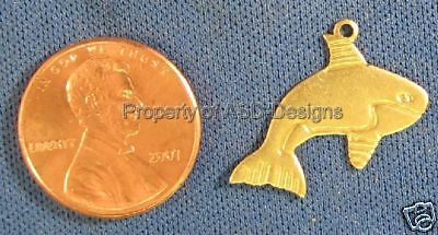 50pc Solid Raw Brass Nautical Orca Whale Charms 4844