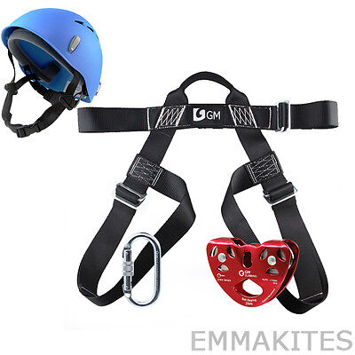 Professional Zip Line Kit Pulley Carabiner Helmet L Size Harness Adults Men Fun