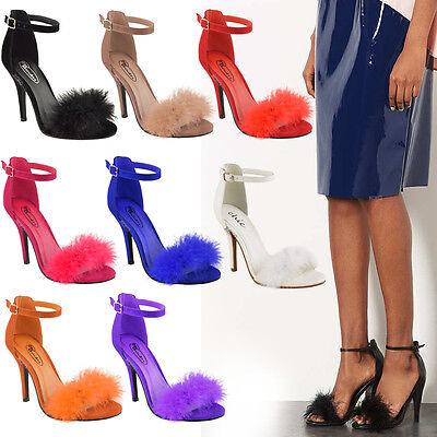 Ladies Womens Mid High Heel Stiletto Sandals Ankle Strap Cuff Party Court Shoes
