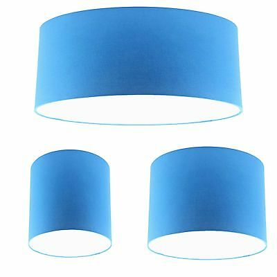 Blue Cotton Drum Lampshade Ceiling Light Lightshade Pendant Lamp Shade Fitting