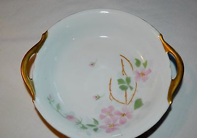 VINTAGE PT BAVARIA TIRSCHENREUTH DOUBLE HANDLED 7 INCH BOWL WITH PINK BLOSSOMS