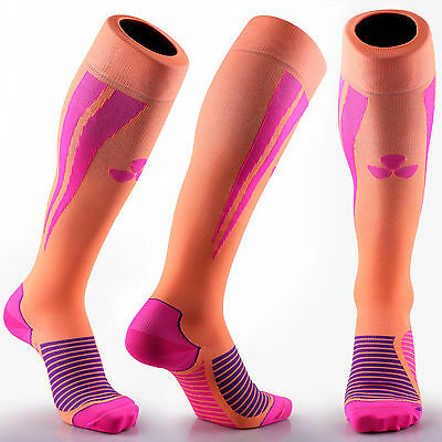 Samson® Compression Socks Orange Pink Football Running Sport Gym Mens Womens