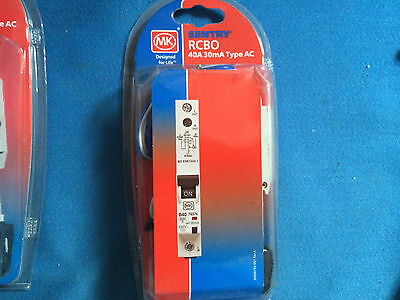 Mk Sentry 40A 30mA Rcbo 7937s type AC NEW IN PACKET FREE POST