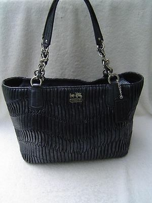 Coach Madison Gathered Leather Tote 20522 Silver Black Nwt Brand New