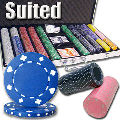 New 750 Suited 11.5g Clay Poker Chips Set with Aluminum Case - Pick Chips!