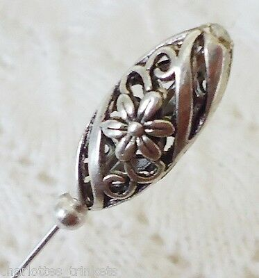 Silver Filigree Bead HatPin with clutch ~Lapel Hat Brooch Stick Pin-Handmade