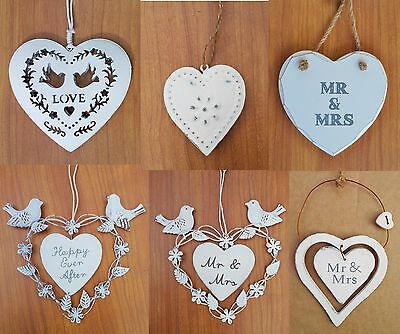 Hanging Wooden Heart Decoration Plaque Sign Gift  Wedding Favours Vintage
