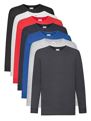 Fruit of the Loom Plain Cotton Kids Childs Boys Girls Long Sleeve Tee T-Shirt