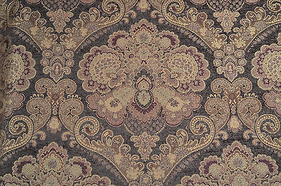 """Jacquard Upholstery Fabric Chenille """"Arthur Cocoa"""" Brown, Burgundy, 6 & 1/2 yds"""