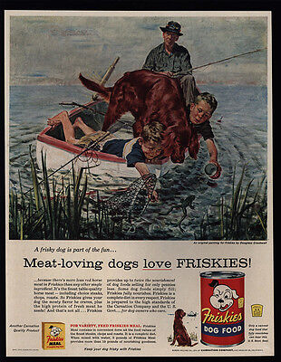 1956 Annoyed Dad Fishing w/ Boys & IRISH SETTER Dog - Fish - FRISKIES VINTAGE AD