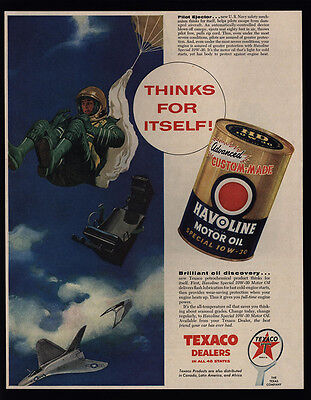 1956 U.S. Air Force Pilot Ejects From Jet - Parachute - HAVOLINE Oil VINTAGE AD