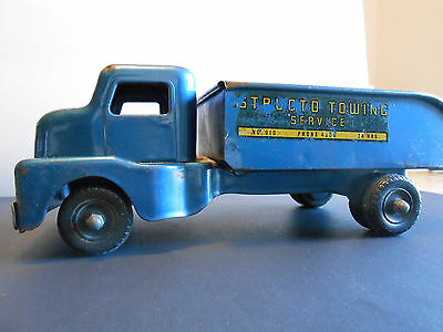 """STRUCTO TOWING SERVICE DUMP TRUCK VINTAGE PRESSED STEEL TOY NO.910 Blue 11"""""""