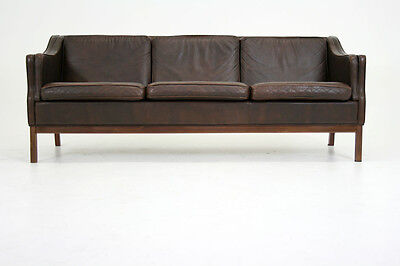 (302-11) Danish Mid Century Modern 3 Seater Leather Couch Sofa