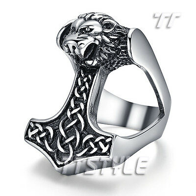 Top Quality TTstyle 316L Stainless Steel Thor Hammer Ring Lion Size 8-13 NEW