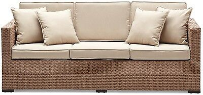 Strathwood Griffen All-Weather Natural Wicker 3 Seater Sofa Couch Outdoor Patio