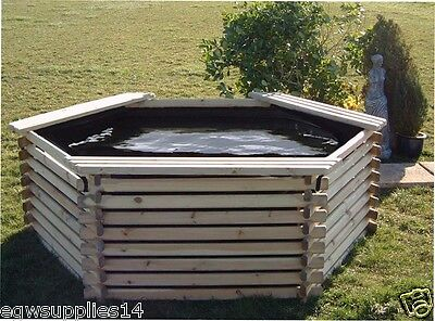 400 Gallon Garden Fish, Koi Pond With Liner- Raised Wooden Pool Water Feature