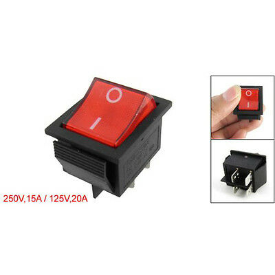 Red Light 4 Pin DPST ON/OFF Snap in Rocker Switch 15A/250V 20A/125V  28x22mm WT