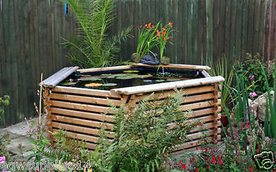 600 Gallon Fish,koi Pond,wooden Raised Garden Pool With Epdm Liner