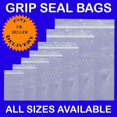 Grip Seal bags Resealable Clear Plastic ZIP LOCK *ALL SIZES IN INCHES* Cheapest