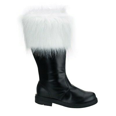 NEW Men's Santa Claus Christmas BLACK Costume BOOTS with Fur 8 9 10 11 12 13 14