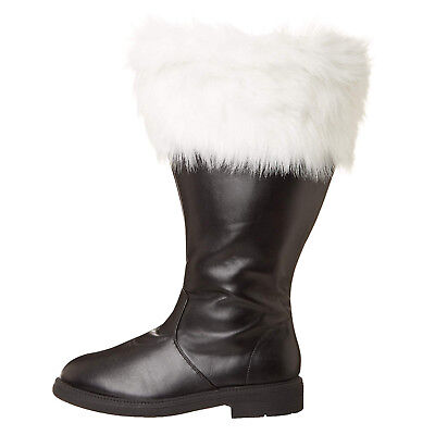 MENS Santa Claus Clause Christmas Costume WIDE CALF width BOOTS 8 9 10 11 12 13