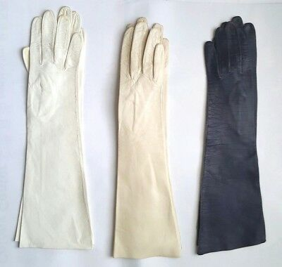 "Vintage New Aris Of Paris Kidskin Leather Women's Gloves 14-1/4""L"