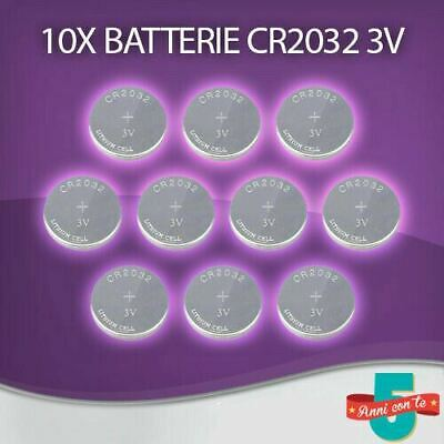 10X Batterie Pila 3V Cr2032 Litio Lunga Durata Sensori Antifurto Casa Wireless
