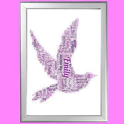 Personalised Word Art Christening Gift Dove Bird For Her Or Him