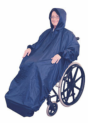 Fleece Lined Wheelchair Rain Cover With Sleeves - Waterproof Wheelchair Mac