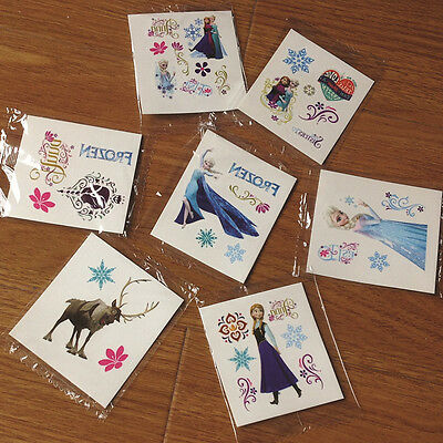 10 Frozen Cartoon Elsa Anna Olaf TEMPORARY TATTOO stickers Party Goody gift