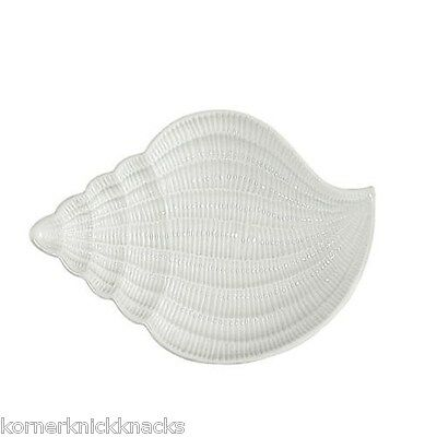 "White 9"" Conch Shell Shaped Serving Plate Platter-Andrea by Sadek-By The Sea"